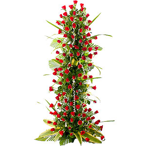 Exquisite Lasting Memories 3 - 4 ft High 100 Red Roses Arrangement