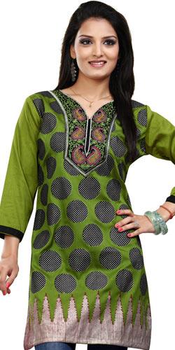 Appealing Green Coloured Crepe Silk Printed Kurti