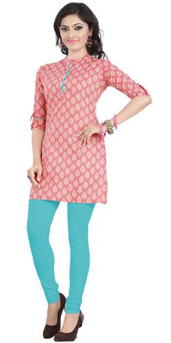 Smashing Pink Coloured Cambric Cotton Printed Kurti