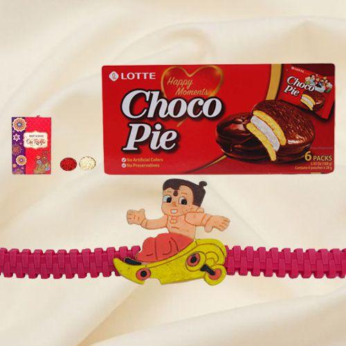Lovely Rakhi Celebration Gift of Choco Pie Box and Sweet Free Kids Rakhi with Roli Tilak and Chawal