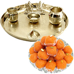 Silver plated Puja Thali with Silver Plated Lakshmi Ganesha with Haldiram's Pure Ghee Ladoo