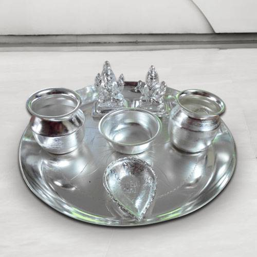 Silver plated Puja Thali with Silver Plated Lakshmi Ganesha