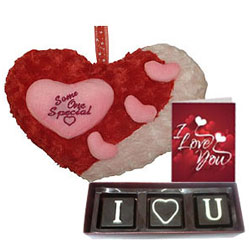 Beautiful Gift Combo of I Love You Handmade Chocolate with Love Card N Cute Heart Love