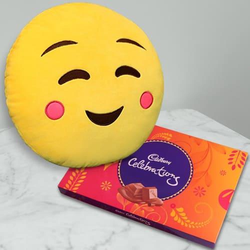 Classy Emoji Hanging Cushion with Cadbury Celebration Pack
