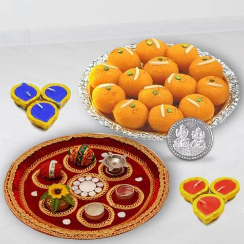 Puja Thali, Diya N Haldirams Pure Ghee Laddoo