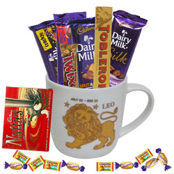 Divine Collection of Chocolates with Leo Zodiac Sign Printed Mug