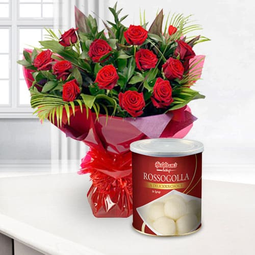 Gorgeous 12 Red Roses and 1 Kg. Haldiram Rasgulla