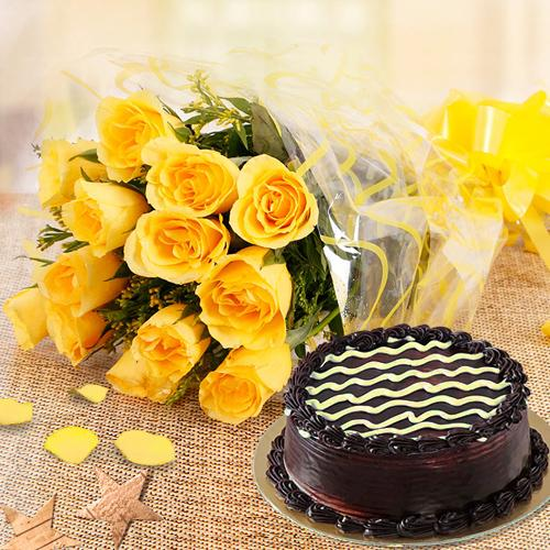 Bouquet of Yellow Roses with Chocolate Cake
