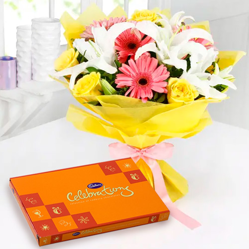 Beautifully Arranged Combo of Mixed Flowers Bouquet and Cadbury Celebration
