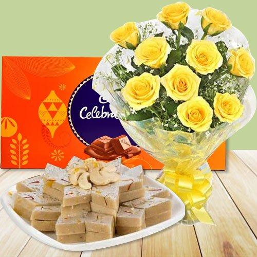12 Yellow Roses with Cadbury Celebration and Kaju Katli