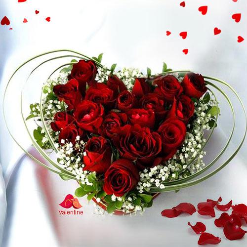 12 Dutch Red Roses in Heart Shape Arrangement