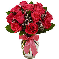 Exceptional Fresh Red Roses in a Vase
