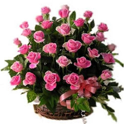Divine Collection of Pink Coloured Roses in a Basket
