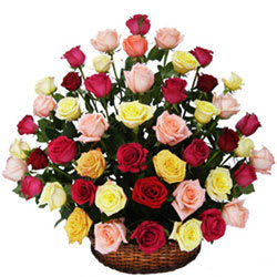 Sun-Kissed Secret Love Mixed Roses in Basket