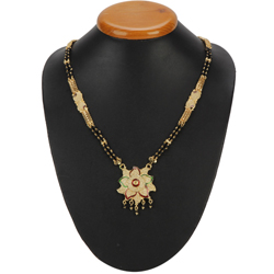 Feminine Gold Toned Metal Mangalsutra with Floral Design