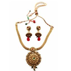 Wonderful Golden Necklace N Earring Set