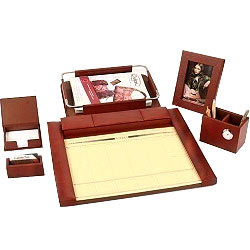 6 pcs Desktop Planner Set in Brown from Leather Talk made of Genuine Leather
