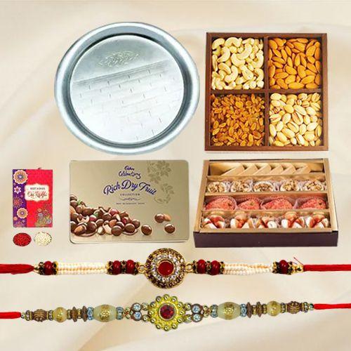 Cadbury Dry Fruit Box, Add 1 Designer Rakhin, Haldirams Assorted Sweets, Assorted Dry Fruits, Rakhi Thali, Free Rakhi, Roli & Tilak