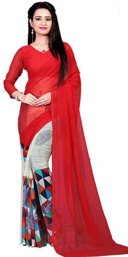 Fashionable Multicolor Printed Saree in Marble Chiffon Fabric