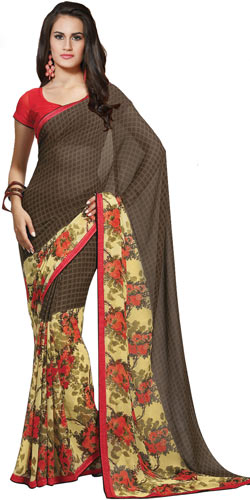 Extravagant Brown and Beige Faux Georgette Saree