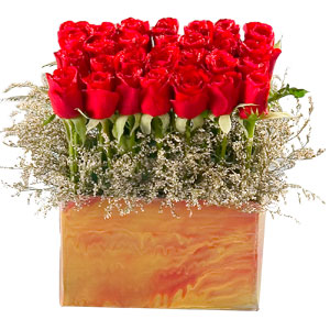 Captivating Wishing You Happiness 35 Red Roses Arrangement and Greens