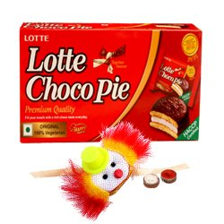Lovely Rakhi Celebration Gift of Choco Pie Box and Sweet Free Kids Rakhi with Roli Tilak and Chawal
