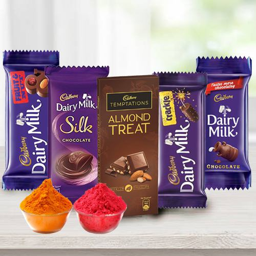 Treat of Chocolates from Cadburys with free Gulal/Abir Pouch