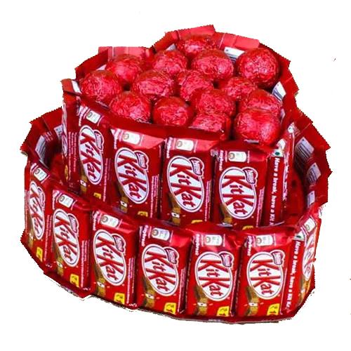 Marvelous Heart Shape Arrangement of Nestle Kitkat n Assorted Handmade Chocolates