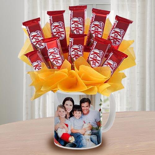 Exclusive Kitkat Chocolates Arrangement in Personalized Coffee Mug