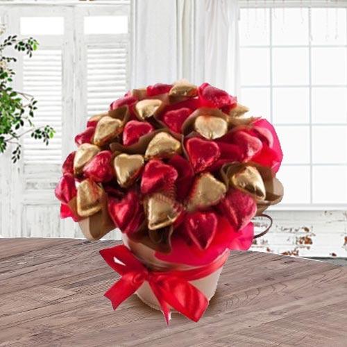 Exquisite Bucket Full of Heart Shape Chocolates