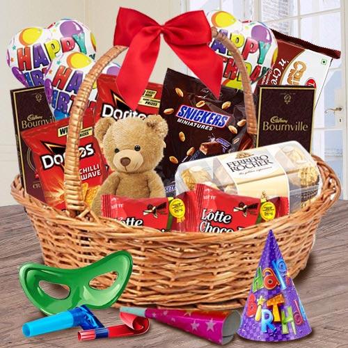 Tasty Gift Basket of Chocolates, Teddy N Assortments