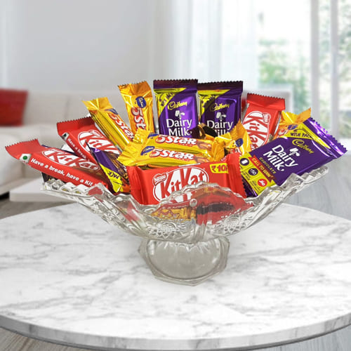 Yummy Mixed Chocolate Assortments in Glass Fruit Vase
