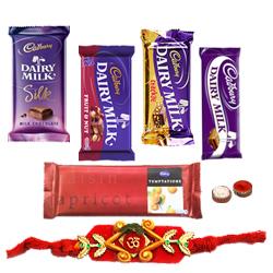 Treat of Chocolates from Cadburys with Rakhi and Roli Tilak Chawal
