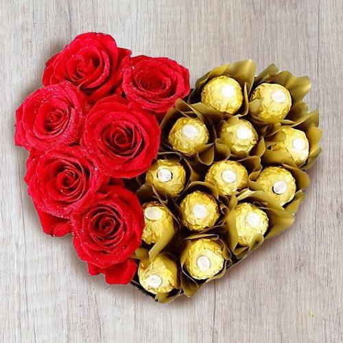 Wonderful Heart Shaped Arrangement of Ferrero Rocher with Roses