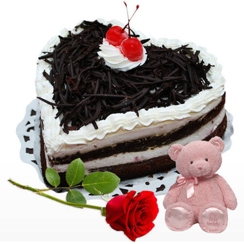 Chocolate-Coated Heart Shape Black Forest Cake with Teddy N Red Rose