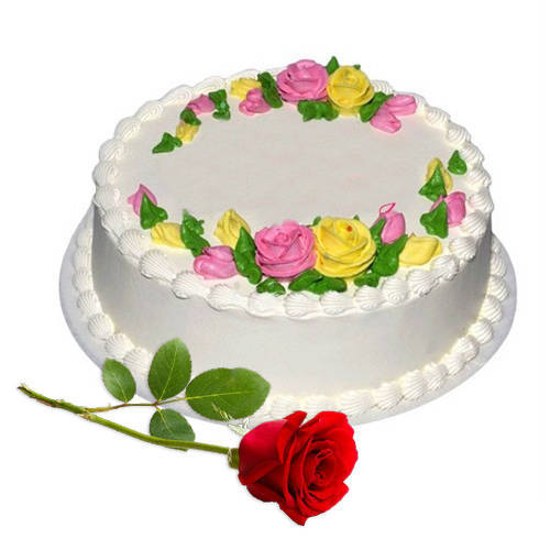 Finger-Licking Vanilla Cake with Red Rose