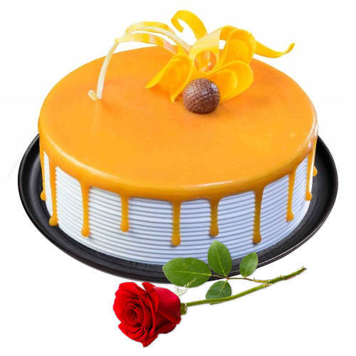 Lip-Smacking Eggless Butter Scotch Cake with Red Rose