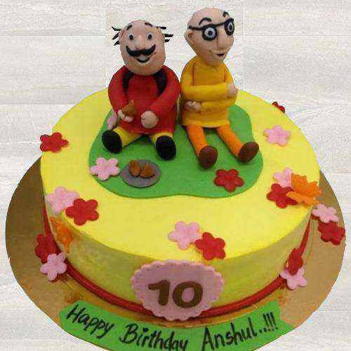 Layered Motu Patlu Fondant Cake for Kids