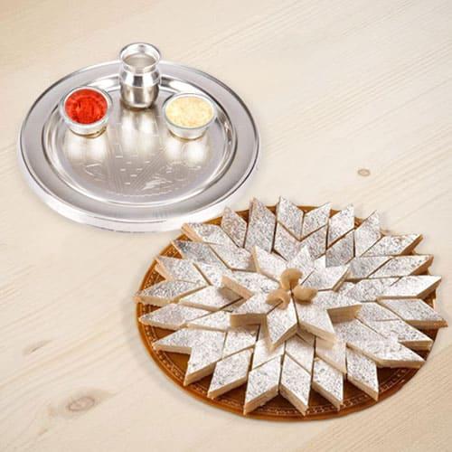 Mesmerizing Silver Plated Thali with Haldirams Kaju Katli