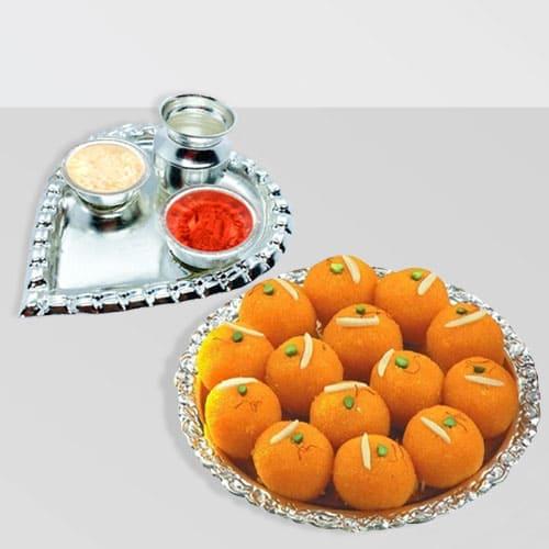 Motichur Laddu from Haldirams with Aarti Thali