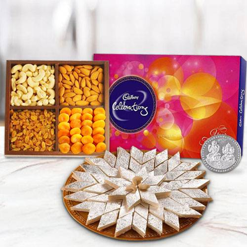 Haldiram Kaju Katli with Dry Fruits and Chocolate Combo with free silver plated coin for Diwali