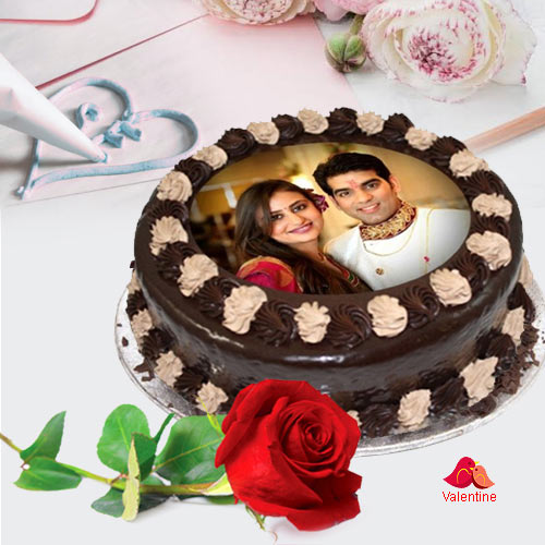 Velvety Chocolate Photo Cake with Single Red Rose