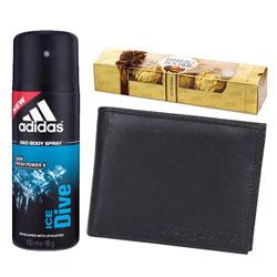 Gift of Addidas Deo, Longhorns Wallet  N  Ferrero Rocher Chocos