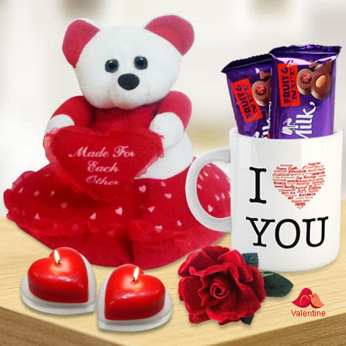 Valentines Day Combo of Teddy with Heart, Cadbury Chocolates, Heart Shape Candle n a Love Mug