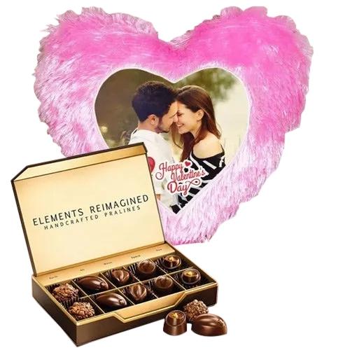 Stylish Personalized Heart Shape Cushion with ITC Premium Chocolates