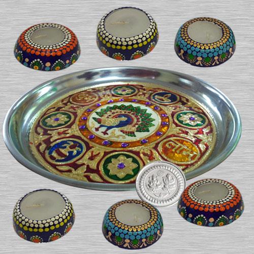 Stylish Diwali Gift of 6 pcs Handmade Diya Set for Decoration in a Meenakari Thali n Free Ganesh Laxmi Coin