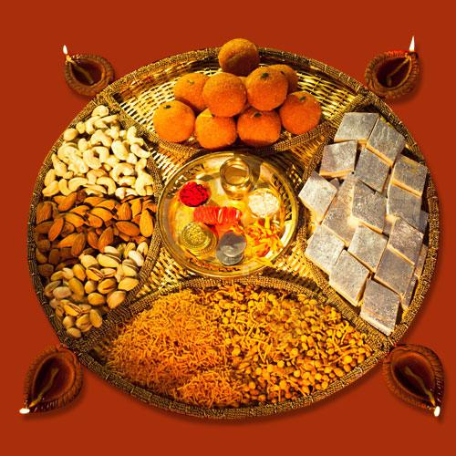 Heavenly Diwali Sweets and Dry Fruits, Pooja Thali n Puja Samagri Combo
