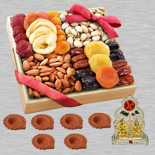 Special Diwali Dry Fruits Platter with Ganesh Lakshmi Mandap, Free Diya