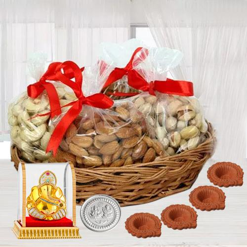Special Basket of Premium Dry Fruits for Diwali with Ganesh Idol, 4 Diya n Free Coin