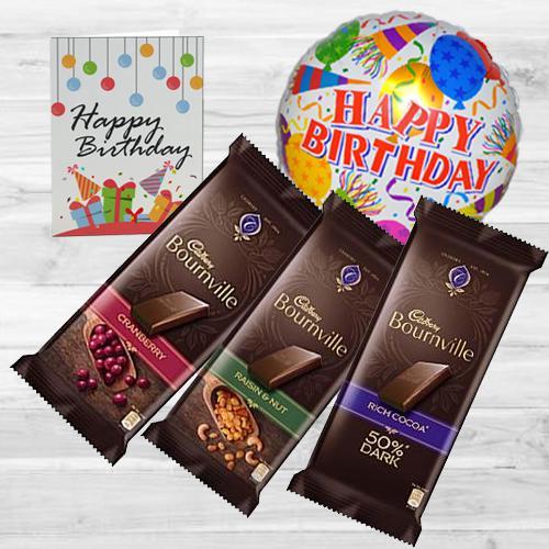 Delicious Cadbury Bournville Chocolate with Birthday Mylar Balloon